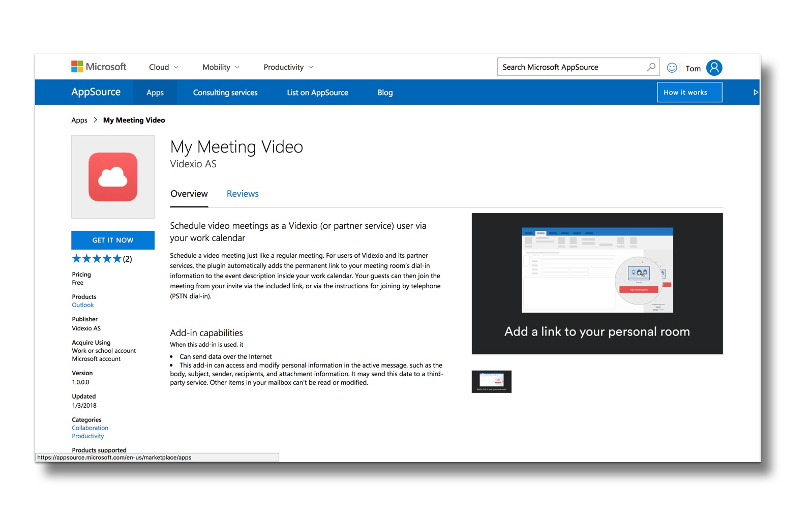 Download My Meeting Video for Outlook from the AppSource Store.jpg